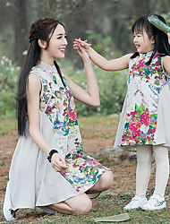 cheap -Mommy and Me Basic Floral Sleeveless Dress