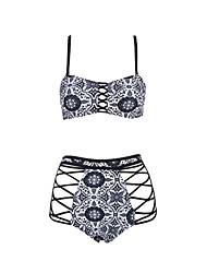 cheap -Women's Bikini - Floral Black & White / Tropical Leaf, Lace up Briefs