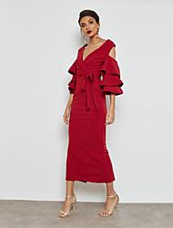 baratos -Mulheres Moda de Rua / Sofisticado Tubinho / Bainha Vestido - Frufru / Fenda, Sólido Longo