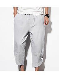 cheap -men's linen loose shorts pants - solid colored