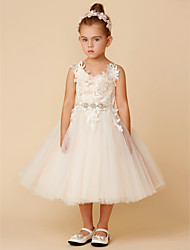 cheap -Princess Tea Length Flower Girl Dress - Lace / Tulle Sleeveless Spaghetti Strap with Crystal / Lace / Sashes / Ribbons by LAN TING BRIDE®