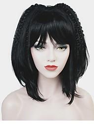 Недорогие -Парики из искусственных волос Матовое стекло Черный Стрижка боб Черный Искусственные волосы Жен. 100% волосы канекалона Черный Парик Средняя длина Без шапочки-основы StrongBeauty / Да