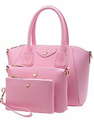 baratos -Mulheres Bolsas PU Conjuntos de saco 3 Pcs Purse Set Ziper Preto / Rosa / Roxo