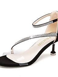 economico -Per donna Scarpe PU (Poliuretano) Primavera / Estate Cinturino alla caviglia Sandali Kitten Nero / Beige / Serata e festa