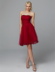 cheap -A-Line Strapless Short / Mini Lace / Tulle Cocktail Party Dress with Appliques by TS Couture®