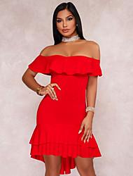 Недорогие -Жен. На выход Обтягивающие Оболочка Платье Завышенная Без бретелей Ассиметричное
