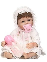 Недорогие -NPKCOLLECTION Куклы реборн Девочки 18 дюймовый Силикон - как живой Искусственные имплантации Голубые глаза Детские Девочки Игрушки Подарок