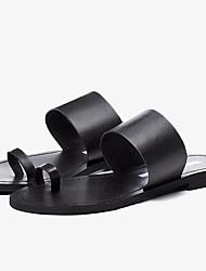 Недорогие -Жен. Обувь Наппа Leather Лето Обувь через палец Сандалии На плоской подошве Открытый мыс Черный / Серебряный