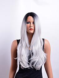 Недорогие -Парики из искусственных волос Кудрявый Стрижка каскад Искусственные волосы Для вечеринок Темно-серый Парик Жен. Длинные Без шапочки-основы Черный / серый