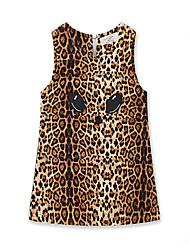 preiswerte -Baby Mädchen Leopard Ärmellos Kleid