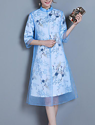 cheap -Women's Chinoiserie / Sophisticated Shift Dress - Plaid / Animal Crane, Lace