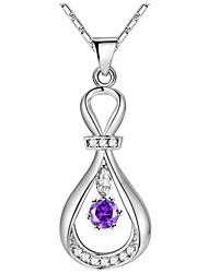 preiswerte -Damen Kubikzirkonia Lang Anhängerketten - Silber Tropfen Stilvoll, Klassisch, Elegant Purpur, Rot 50 cm Modische Halsketten 1pc Für Hochzeit, Party