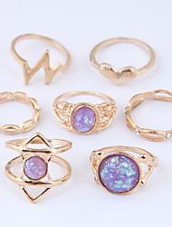 Недорогие -Жен. Вырезка Ring Set - Резина Сердце Винтаж, европейский, Мода 7 Золотой Назначение Повседневные