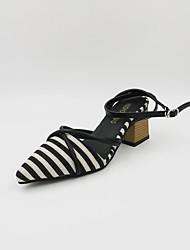 economico -Per donna Scarpe PU (Poliuretano) Primavera estate Con cinghia / Cinturino alla caviglia Sandali Quadrato Nero / Cachi
