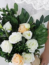 baratos -Flores artificiais 1 Ramo Clássico Casamento Rosas Flor de Mesa