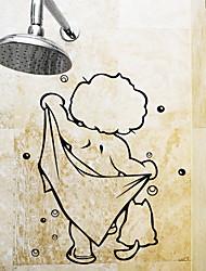 Недорогие -Наклейки и ленты Простой / Водонепроницаемый / Самоклеющиеся Обычные / Мультяшная тематика / Modern ПВХ 1шт Украшение ванной комнаты
