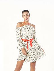 cheap -Women's Basic Chiffon Dress - Floral Print