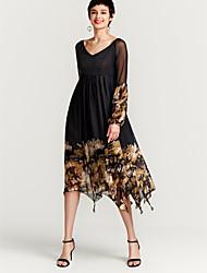 cheap -Women's Basic Swing Dress - Geometric Black, Print Maxi