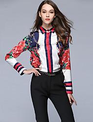 baratos -Mulheres Camisa Social Activo / Moda de Rua Estampado, Floral