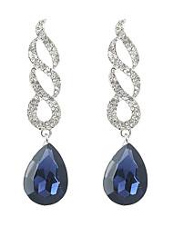abordables -Mujer Cristal Largo Pendientes colgantes - Brillante Gota Étnico, Moda Blanco / Azul Para Fiesta / Fiesta de baile