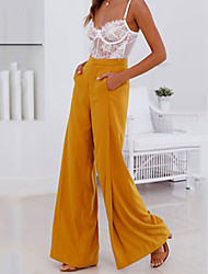cheap -Women's Street chic Wide Leg Pants - Solid Colored Ruched