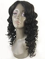 Недорогие -человеческие волосы Remy Лента спереди Парик Перуанские волосы Волнистый Черный Парик Стрижка каскад 130% Плотность волос с детскими волосами Природные волосы Для темнокожих женщин Черный Жен.
