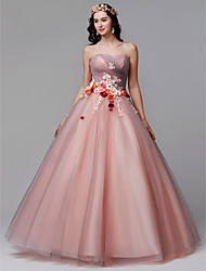 cheap -Princess Strapless Floor Length Tulle Formal Evening Dress with Flower / Pleats by TS Couture®