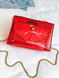 baratos -Mulheres Bolsas PVC Conjuntos de saco 2 Pcs Purse Set Botões Arco-íris / Marron / Cinzento Claro