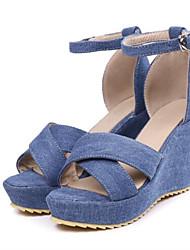 abordables -Femme Chaussures Toile de jean Printemps été Escarpin Basique Sandales Hauteur de semelle compensée Bout ouvert Boucle Blanc / Noir / Bleu