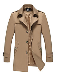 cheap -Men's Long Plus Size Trench Coat - Solid Colored / Long Sleeve