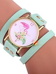 baratos -Xu™ Mulheres Bracele Relógio / Relógio de Pulso Chinês Criativo / Relógio Casual / Adorável PU Banda Desenho / Fashion Preta / Branco / Vermelho / Mostrador Grande / Um ano