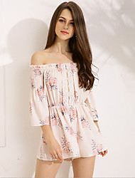 cheap -women's going out cotton romper - floral wide leg boat neck