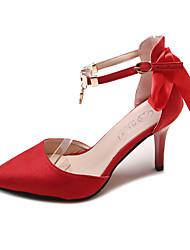 baratos -Mulheres Sapatos Camurça Verão D'Orsay Saltos Caminhada Salto Agulha Dedo Apontado Preto / Vermelho / Amêndoa