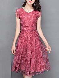 baratos -Mulheres Moda de Rua / Sofisticado Reto Vestido Poá / Floral / Xadrez Altura dos Joelhos