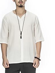 お買い得  -男性用 タッセル Tシャツ ヴィンテージ ソリッド / 幾何学模様 ブラック&ホワイト
