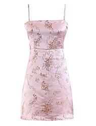 baratos -Mulheres Básico Delgado Bainha Vestido - Bordado, Floral Com Alças Acima do Joelho / Verão
