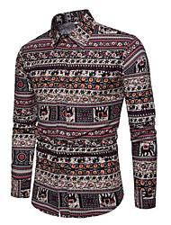 cheap -men's shirt - floral color block shirt collar