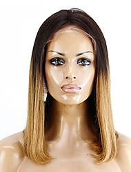 お買い得  -レミーヘア フロントレース かつら ブラジリアンヘア ストレート ボブスタイル・ヘアカット / ショートボブ 130% 密度 ソフト / シルキー / 女性 ブラウン ショート 女性用 人毛レースウィッグ