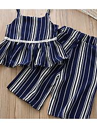 cheap -Kids Girls' Basic Striped Lace up / Patchwork Sleeveless Cotton Clothing Set