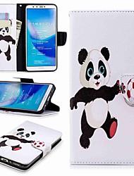 baratos -Capinha Para Huawei Y9 (2018)(Enjoy 8 Plus) Carteira / Porta-Cartão / Com Suporte Capa Proteção Completa Panda Rígida PU Leather para Huawei Y7(Nova Lite+) / Huawei Y6 (2018) / Huawei Y6 (2017)(Nova