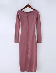baratos -Mulheres Trabalho Delgado Tricô Vestido Médio