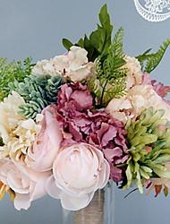 baratos -Flores artificiais 1 Ramo Solteiro (L150 cm x C200 cm) Casamento / buquês de Noiva Rosas / Hortênsia / Violeta Flor de Mesa