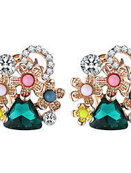 cheap -Women's Hoop Earrings - Flower Stylish, Bohemian, Boho Green / Blue For Daily / Evening Party