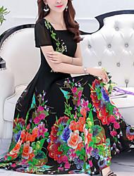 baratos -Mulheres Tamanhos Grandes Para Noite balanço Vestido - Estampado, Floral Decote Quadrado Médio