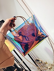 baratos -Mulheres Bolsas PVC Conjuntos de saco 2 Pcs Purse Set Ziper Branco / Arco-íris