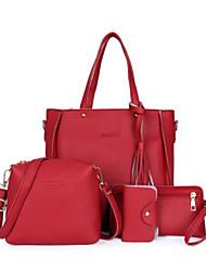 baratos -Mulheres Bolsas PU Conjuntos de saco Conjunto de bolsa de 4 pcs Ziper / Mocassim Verde / Vermelho / Khaki