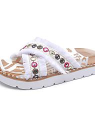 baratos -Mulheres Sapatos Couro Ecológico Verão Conforto Sandálias Caminhada Sem Salto Dedo Aberto Botão Branco / Preto