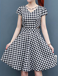 cheap -Women's Street chic / Sophisticated A Line Dress - Check Black & White, Lace