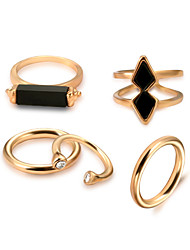 baratos -Mulheres Gema Preto Natural Corda Anel / Conjunto de anéis - Liga Gótica, Rock, Góticas Dourado Para Ensaio / Prática / namorados