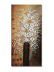 Недорогие -styledecor® современная ручная роспись абстрактная бутылка белых цветов на коричневом фоне Масляная картина на обернутом холсте